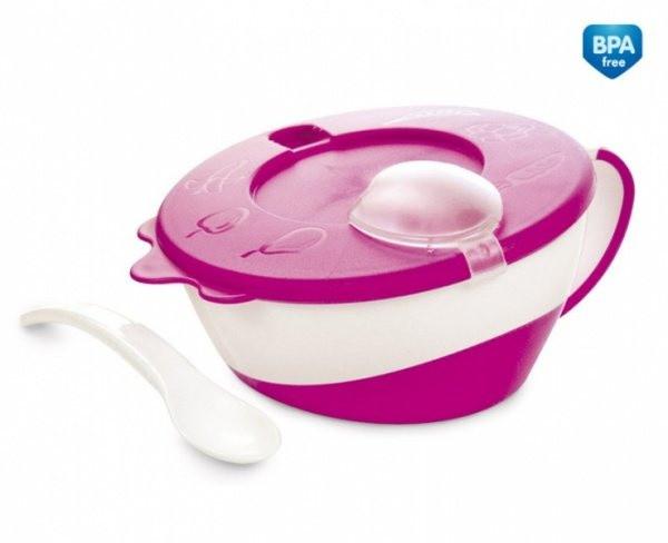 Тарелочка с крышкой и ложкой Canpol Babies, 350 мл, розовый (31/406)