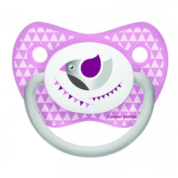 Силиконовая анатомическая пустышка Canpol Babies Let's Celebrate, фиолетовый, 6-18 мес. (23/280_pin)