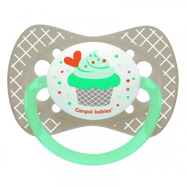 Силиконовая симметричная пустышка Canpol Babies Cupcake, серый, 18+ мес. (23/284_grey)