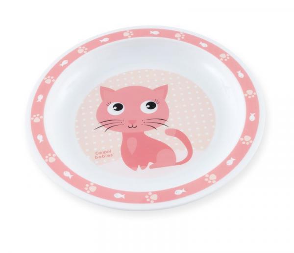 Тарелка плоская Canpol babies Котик, розовый (4/411)