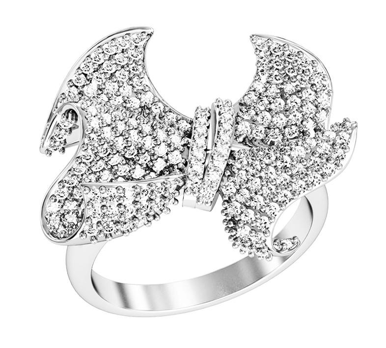 Кольцо  женское серебряное Бриллиантовый бант 112 090