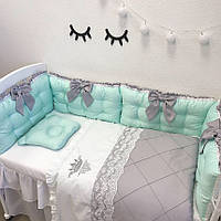 """Комплект в детскую кроватку - """"Королевский мятный"""""""