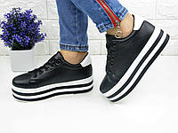 ЖЕНСКИЕ КРОССОВКИ НА ВЫСОКОЙ ПОДОШВЕ ЧЕРНЫЕ 1076 (кросовки спортивне взуття  жіночі стильні на танкетці) 5653d8dde1050