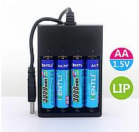 АА пальчиковый KENTLI литий-ионный аккумулятор 3000мАч 1,5В  + зарядное устройство 4 шт
