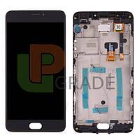 Дисплей для Meizu M3 Note (L681H) + тачскрин, черный, с передней панелью, 30 pin