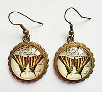 Серьги ручной работы с бабочками круглые