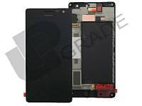 Дисплей для Nokia 730 Lumia Dual Sim (RM-1040)/735 (RM-1038/RM-1039) + тачскрин, черный, с передней панелью, оригинал (Китай)