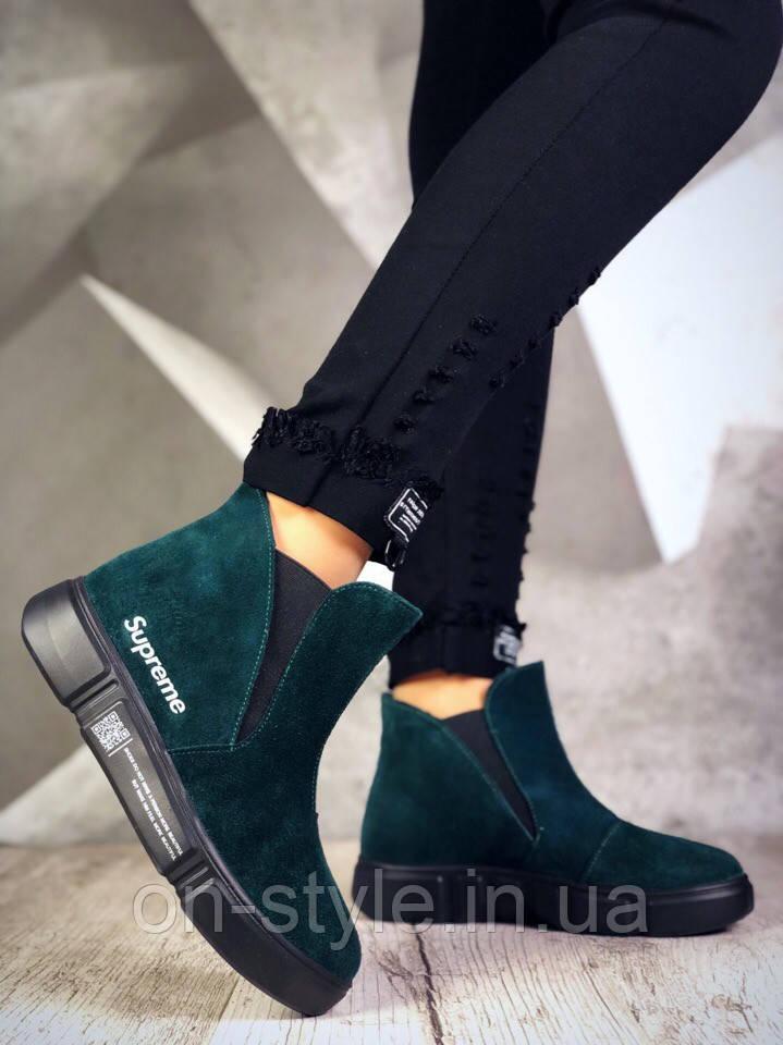 0cfed227 Женские модные замшевые ботинки изумрудного цвета на плоской подошве, фото 1