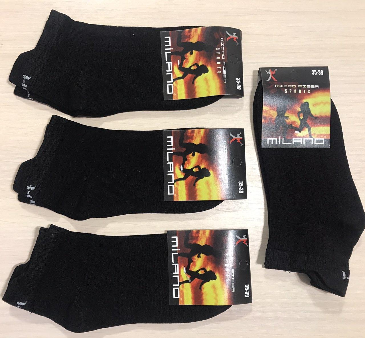 Носки женские демисезонные спортивные микрофибра MILANO Турция размер 35-39 чёрные