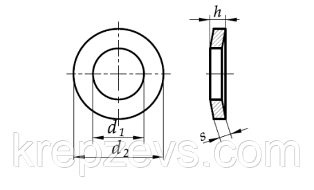 Тарельчатая шайба DIN 6796 чертеж