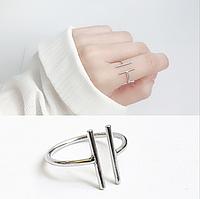 Женское Кольцо Серебряное Универсального Размера Параллели