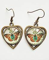 Серьги ручной работы с бабочками в форме сердца