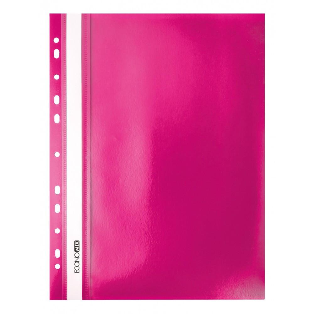 """Папка-скоросшиватель А4 Economix с перфорацией, фактура """"апельсин"""", розовая E31508-09"""