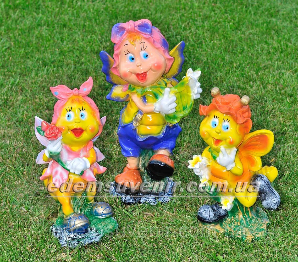 Садовая фигура Мотылек с розой, Мотылек с арфой и Мотылек с лилией
