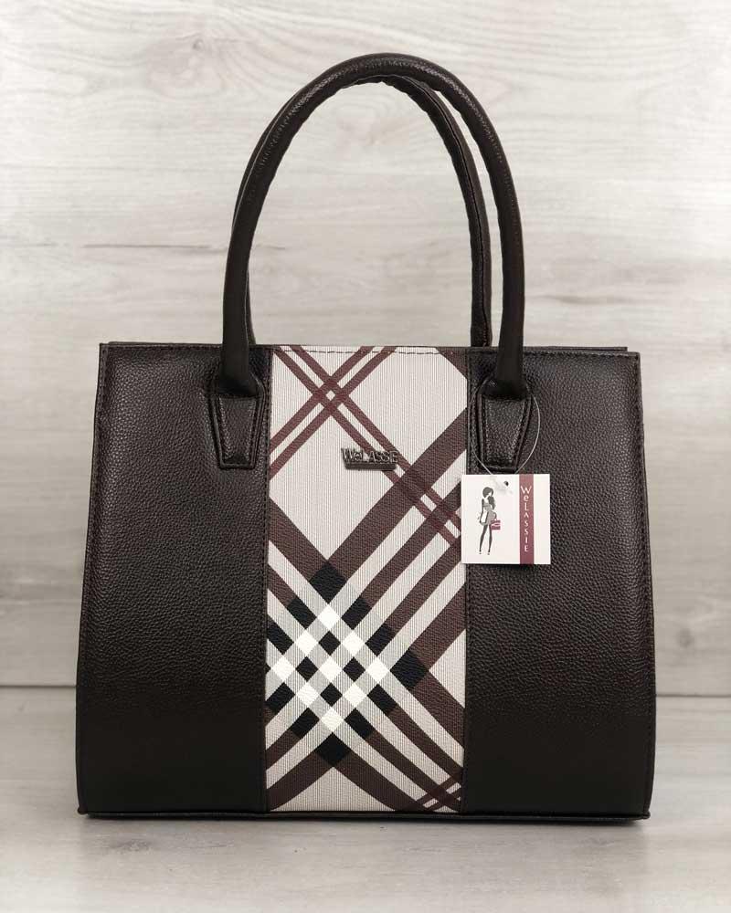 Женская сумка WeLassie Бочонок коричневого цвета со вставкой барбери (31623)