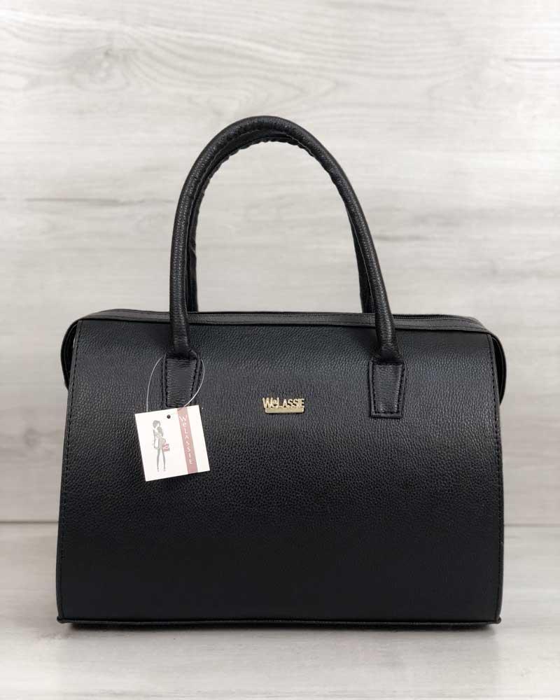 Каркасная женская сумка WeLassie Саквояж черный матовый (31129)