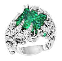 Кольцо  женское серебряное Изумрудная Королева 112 080
