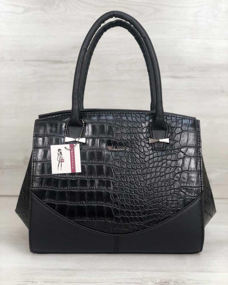 Каркасная женская сумка WeLassie Виржини черного цвета со вставками черный крокодил (31301)