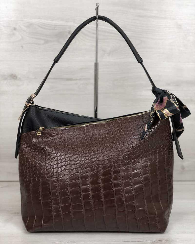Женская сумка WeLassie Нея черного цвета со вставкой коричневый крокодил (56001)