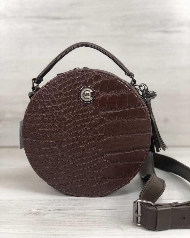 Стильная женская сумка WeLassie Бриджит коричневого цвета со вставкой коричневый крокодил (32301)