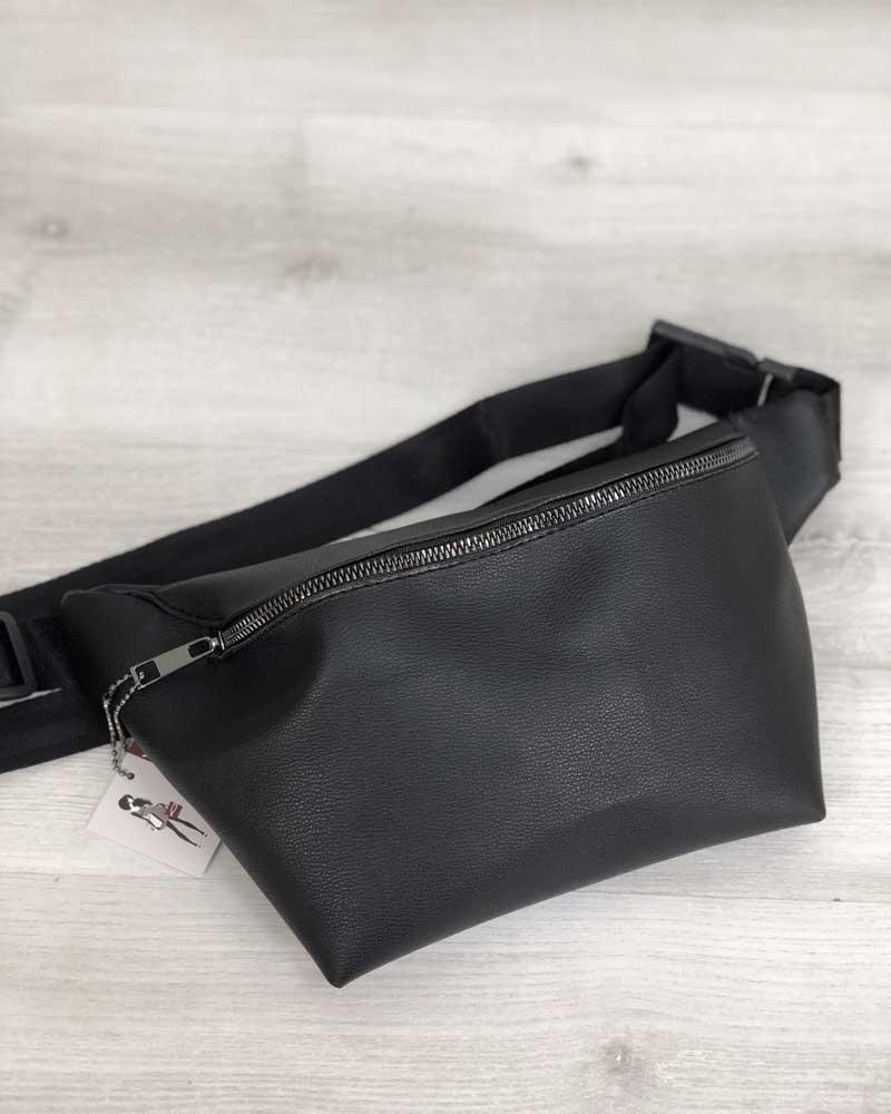 Женская сумка Бананка черного цвета (никель)