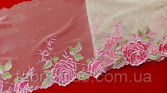 Кружево гипюр на сетке 22 см розовые розы
