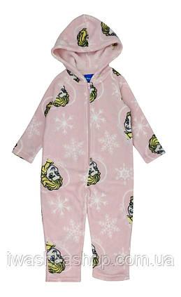 Розовая флисовая пижама - слип из велсофта Frozen, Холодное сердце на девочку 8 лет, р. 128, Disney