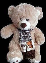 Мягкий плюшевый Медведь 58 см милая игрушка мишка в шарфе подарок на день влюбленных 8 марта день рождения