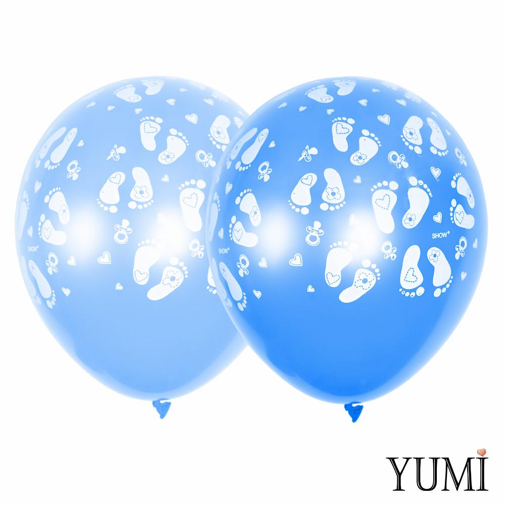 0254 Шар 12/30см НОЖКИ (Голубой и синий) Артшоу