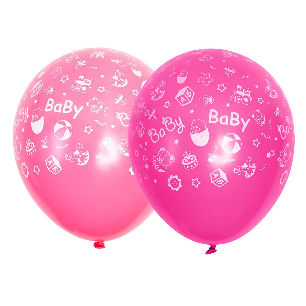 0253 Шар 12/30см Baby Birthday ИГРУШКИ (Розовый и фуксия) Артшоу
