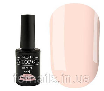 Naomi UV Top Gel No Wipe Warm Pink (молочно-розовый), 12 мл