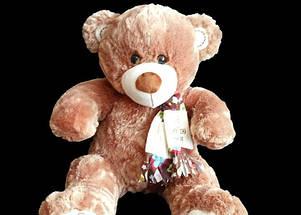 Прекрасный подарок для любимой девушки плюшевый Мишка 68 см в красивом шарфе, фото 3