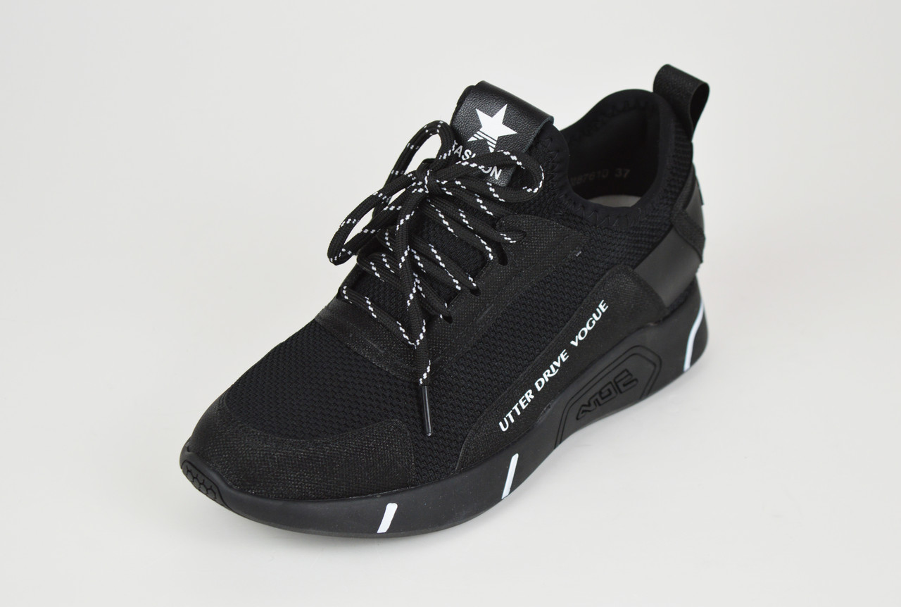 Текстильные кроссовки с кожаными вставками черные Lonza 87610
