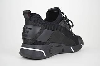 Текстильные кроссовки с кожаными вставками черные Lonza 87610, фото 2