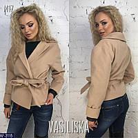 Женское стильное пальто с поясом, фото 1