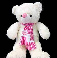 Мягкий Мишка 58 см в милому розовом шарфе плюшевая игрушка медведь