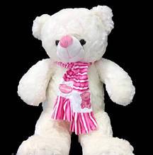 М'який Ведмедик 58 см в милому рожевому шарфі плюшева іграшка ведмідь