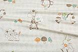 """Сатин """"Леви, коники, зайці і контури дерев"""" на кремовому №1914с, фото 3"""