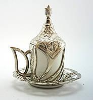 Турецкая чашка для кофе Демитассе 60 мл, цвет: серебро