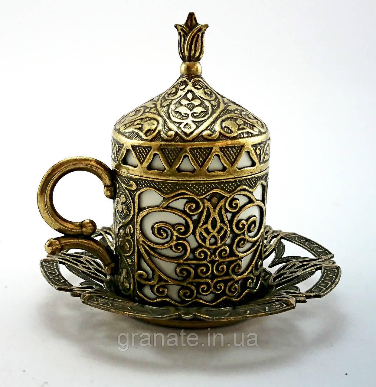 Турецкая чашка Демитассе для кофе 60 мл, цвет: бронза