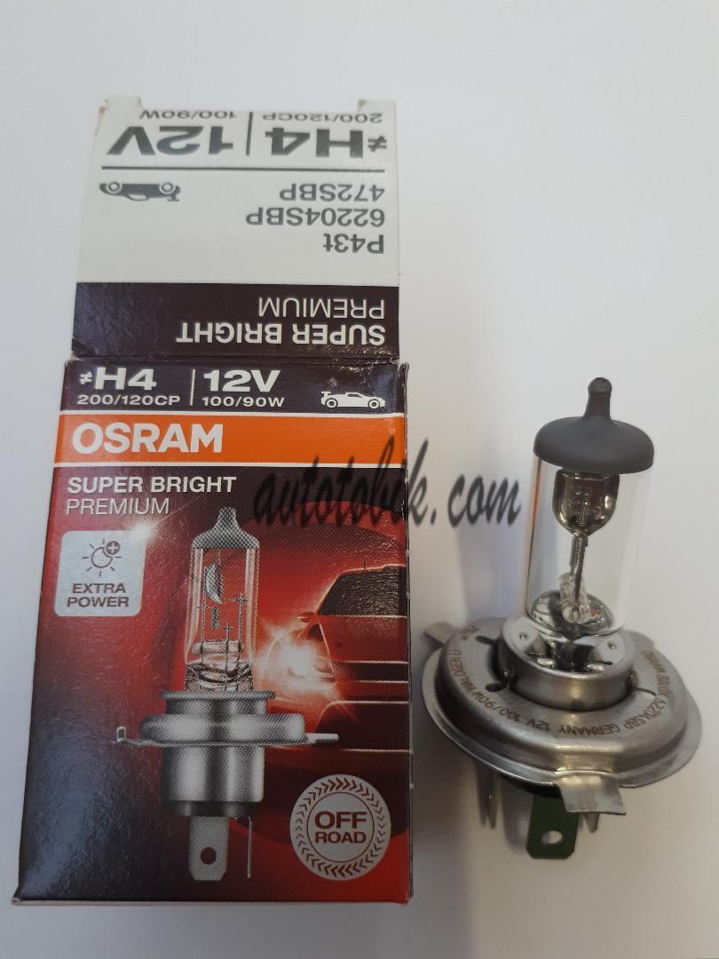 Автомобильная лампа Osram H4 12V SUPER BRIGHT PREMIUM 100/90W (1шт.)