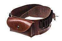 Ремень из кожи для оружия с карманом Artipel коричневого цвета / патронташ охотничий