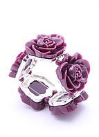 205435 браслет из меди, покрытой 24К золотом, розы из ювелирной смолы