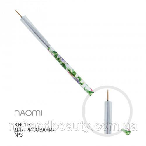 Кисть для малювання №3 довгий ворс (квітковий принт)