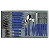 Набор столовых приборов из нержавеющей стали Victorinox (24 предмета) синего цвета