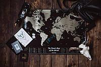 Скретч-карта мира размер 85X60см Black