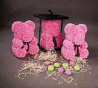 Подарок мишка из роз розовый 40см