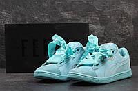 Женские кроссовки Puma Suede Bow мятные 3104 (жіночі кросовки пума кроси  взуття спортивне обувь спортивная 506101f4be7de