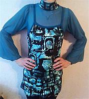 Детская- подростковая нарядная туника-платье для девочки Бирюзовое