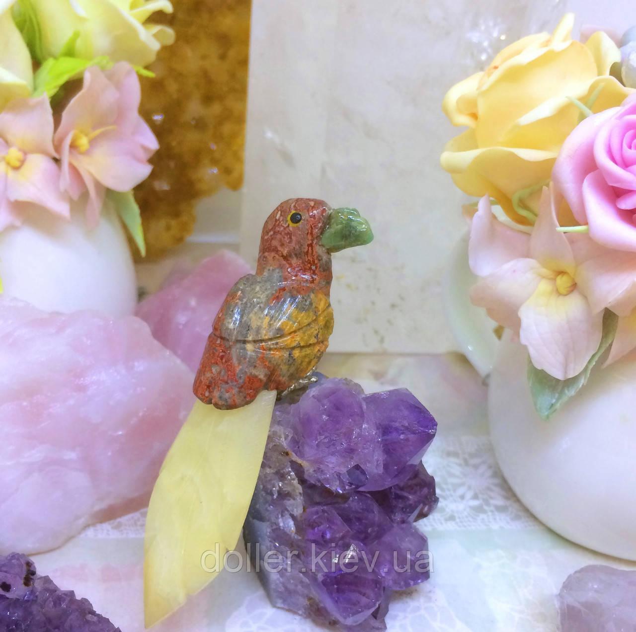 Пташка з каменю 12 див. авантюрин, яшма, медовий кальцит
